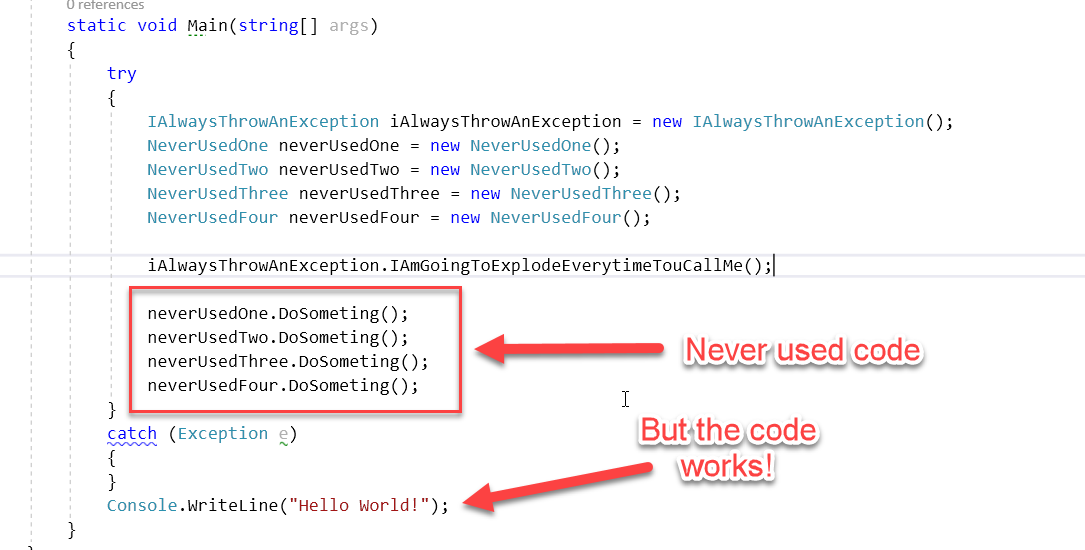 try catch redunant code